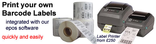 Print your own barcode labels with our epos software and optional label printer