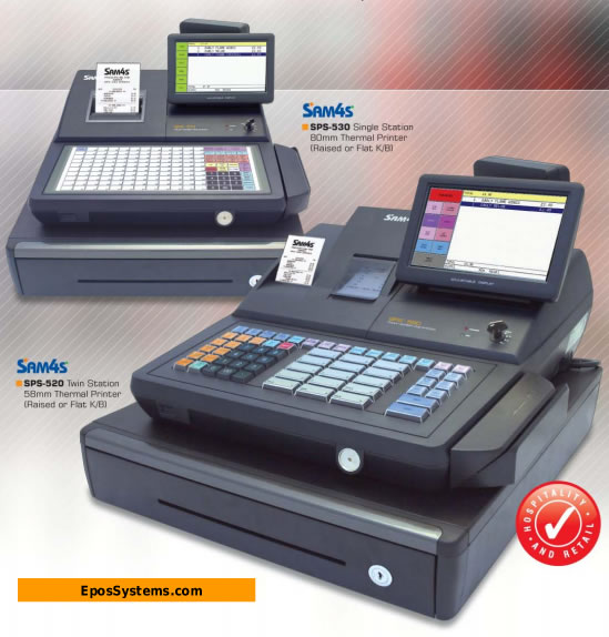Sam4s SPS530 Shop Till with raised keys or flat keys. SPS520 with 2-station printer. Retail POS System.