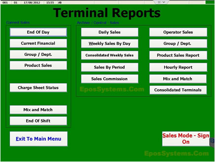 Touch EPoS Software - Sales / Accounting Reports